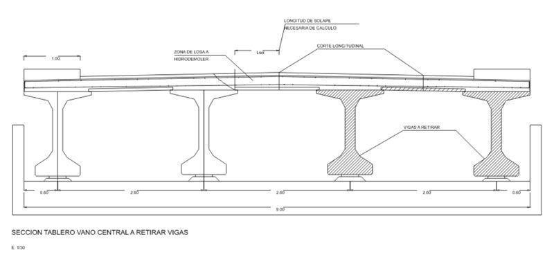 hidrodemolición tablero puente planos