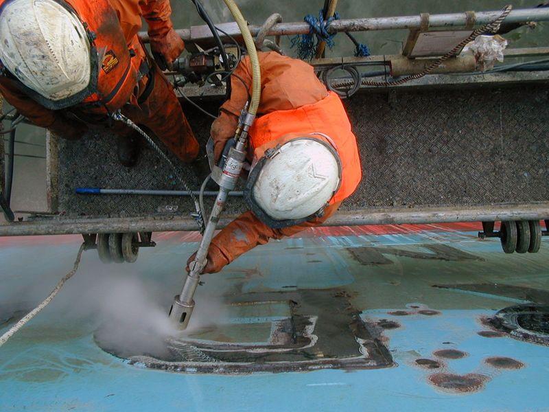 , Limpieza de superficies metálicas con agua a alta presión #waterjetting